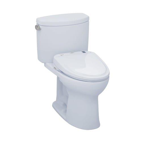 TOTO MW454574CEFG#01 WASHLET+ Drake II Two-Piece Elongated 1.28 GPF Toilet and WASHLET S300e Bidet Seat, Cotton White