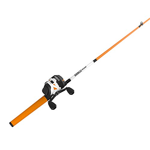 Zebco Roam Orange Spincast Reel and 2-Piece Fishing Rod Combo, ComfortGrip Rod Handle, Instant Anti-Reverse Fishing Reel, Size 30, 6'