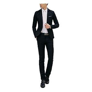 GETS(ゲッツ) スーツ メンズ 2点セット スリーピース 上下セット ジャケット スラックス セットアップ1つボタン ビジネススーツ スリム 着心地良い 礼服 結婚式 就職スーツ オールシーズン シンプルデザイン スタイリッシュスーツ パーティー スーツ (ブラック,M)