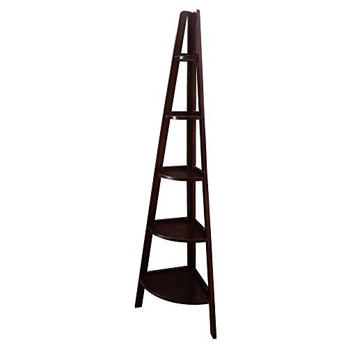 Casual Home 5-Shelf Corner Ladder Bookcase, Espresso (New)