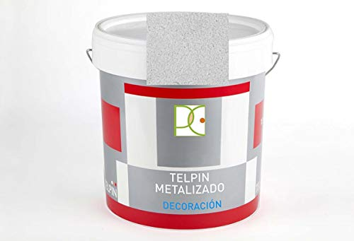 PINTURA METALIZADA AL AGUA PARA PAREDES COLOR PLATA 4 LTS. + Regalo Mini Rodillo Antigota