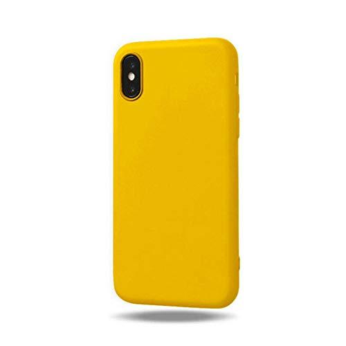 SMZNXF Carcasa de telefono,Funda de Silicona Suave de Color Caramelo para iPhone XS MAX XR X 10 8 7 6 5 S 5S 5SE 2020 7Plus 8Plus Funda Trasera para teléfono Mate Vino Rosado, Amarillo, para iPho