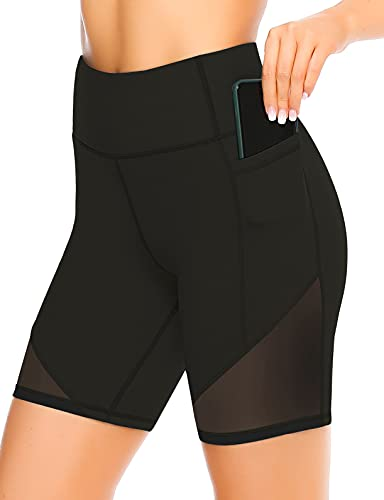 JOYSPELS Kurze Sporthose Damen, Radlerhose Damen Kurz Laufhose Leggings Sport Biker Running Yoga Fitness Shorts Schwarz M