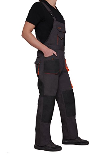 Latzhose Arbeitshose CLASSIC Handwerker KFZ Gärtner Mechaniker 270g/m2 (46, graphit/orange) - 4