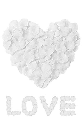 4000 Rosenblätter Künstliche Rosenblätter Weiß Blütenblätter Seide Seidenblumen Romantische Deko für Hochzeit Deko Valentinstag Geburtstag Party Dekoration Datierung