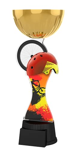 Trophy Monster BMX Bike Ciclismo Gold Cup Award Gratis Placa grabada | Increíble valor | para clubes y presentaciones | Hecho de metal y acrílico impreso (compra en 3 tamaños) (210 mm)