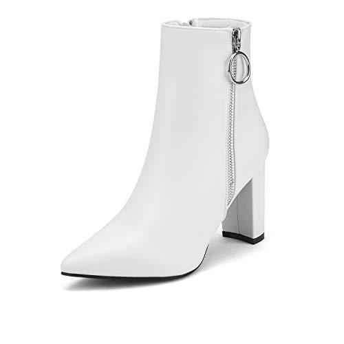 DREAM PAIRS Damen Sianna-3 Mode Spitz Stiefeletten mit Hoher Blockabsatz Weiß Pu Größe 8.5 M US / 39.5 EU