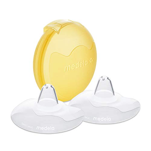 Medela Contact Nipple Shield for Breastfeeding, 24mm Medium Nippleshield, For Latch Difficulties or Flat or Inverted Nipples, 2 Count with Carrying Case, Made Without BPA