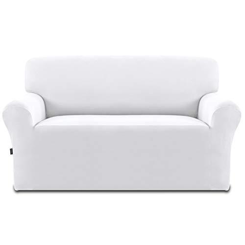 Easy-Going Fleece Stretch Sofa Schonbezug - Spandex Rutschfest Weich Couch Sofabezug Waschbarer Möbelschutz mit Anti Skid Foam und Elastic Bottom für Kinder, Haustiere (Loveseat, Snow White)