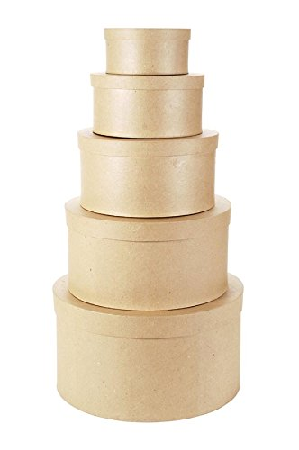 """of darice box sets Darice Paper Mache Boxes, Set of 5 – Neutral Colored Boxes with Lids, Ideal for Crafting & Storage, Includes 6"""", 8"""", 10"""", 12"""" and 14"""" Boxes, Customizable for Wedding Card Boxes & Holiday Decorations"""