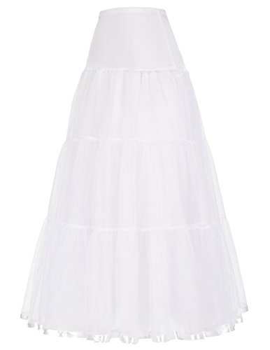 Mujeres Enaguas Rockabilly Cancan para Vestido Largo Blancos L