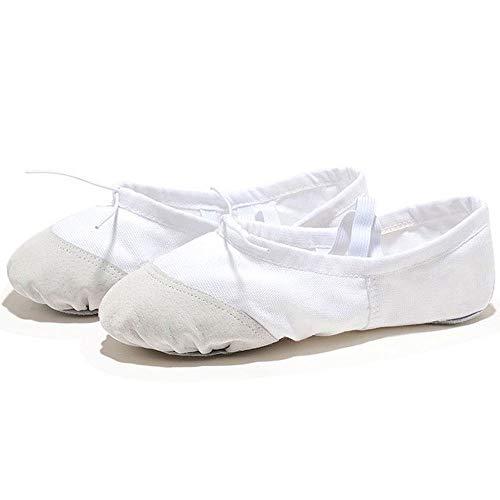 Cfiret Calcetines de Entrenador de Mujer Yoga Zapatos de Baile de Ballet for niñas Las Mujeres del Ballet Zapatos de Lona de niños de los niños (Color : White, Shoe Size : 9)