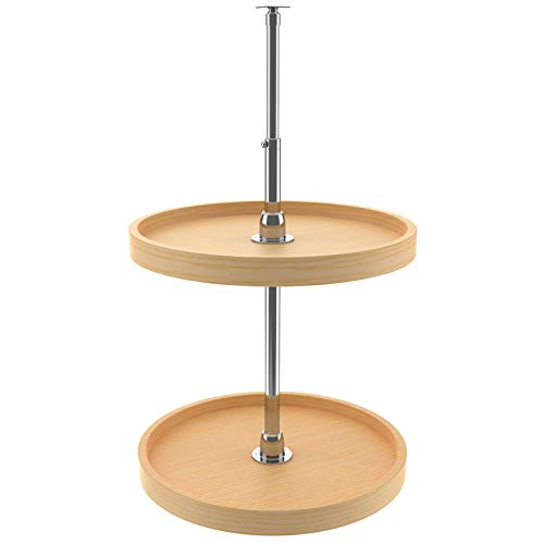 Rev-A-Shelf 4WLS072-18-52 18 Inch Wooden Full Circle 2 Shelf Spinning Lazy Susan Turntable Storage Organizer for Upper Wall and Corner Kitchen Cabinets