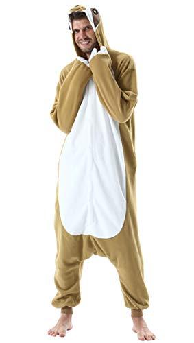 Jumpsuit Onesie Tier Karton Kigurumi Fasching Halloween Kostüm Lounge Sleepsuit Cosplay Overall Pyjama Schlafanzug Erwachsene Unisex Faultier for Höhe 140-187CM Damen Herren