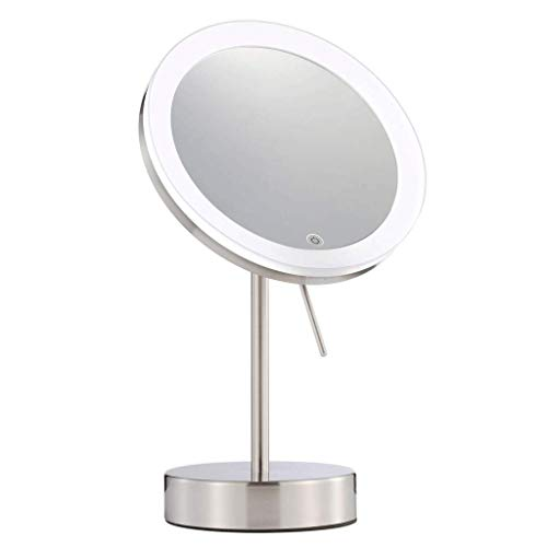 Carl Artbay Miroir de maquillage à LED 8 fois avec miroir de maquillage à LED 1 face avec lumière tactile et grossissant 8 fois