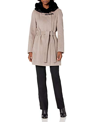 Calvin Klein Womens Faux Fur Shall Collared Coat, THI, S