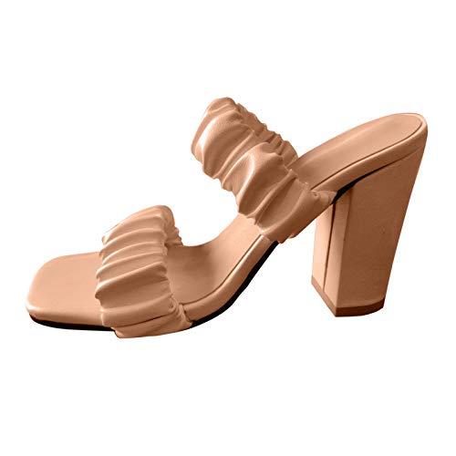 Sandalen Damen Neue All-Match Einfarbige Hausschuhe Elegante Lässige Stilvoller Strandschuhe Kreativität Plissee Design Slipper Slip-on Peep Toe Pantoffel Mehrere Stile Frauen Sandalen