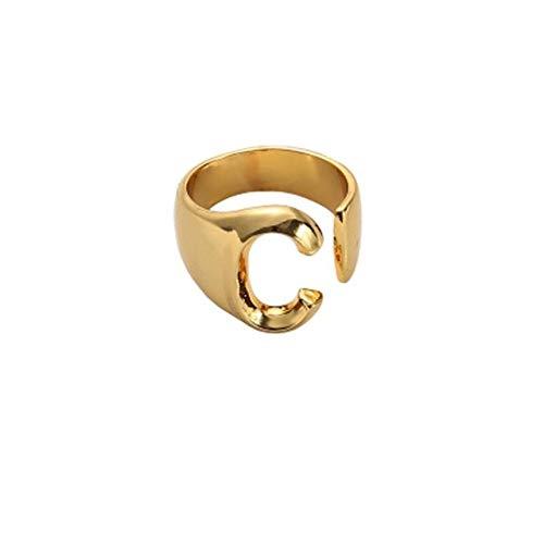 QPRER Damenringe,C Pattern Mode 26 Brief Verlobungsring Gold Farbe Öffnen Personalisierte Einstellbar Einfache Ringe Paar Hochzeit Danksagung Ziemlich Schmuck Romantisch Party Zube
