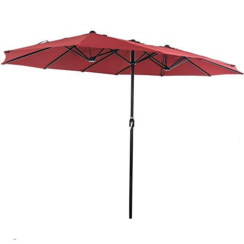 SUPERJARE Paraguas de patio de 14 pies con calibre de barra de 1.89 pulgadas, diseño de doble cara extra grande con manivela, tela de poliéster