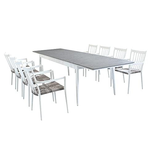 Milani Home s.r.l.s. Set Tavolo E Sedie da Giardino per Esterno in Alluminio E Polywood Cm 200/300 X 90 X 76 H con 8 Sedute Colore Bianco,Grigio Chiaro