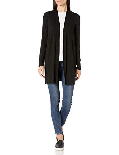 Amazon Essentials Women's Long-Sleeve Open-Front Cardigan, Black, Small