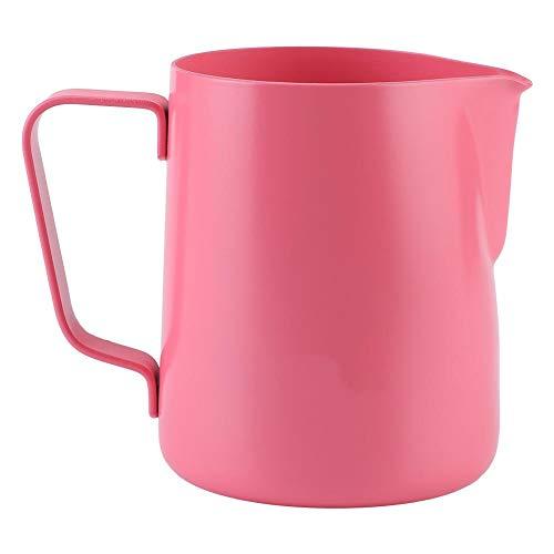 350ml Edelstahl Milchschäumkrug Milchkännchen Schaumkrug Kaffeetasse Latte Art Milchschäumer Krug(Rosa)