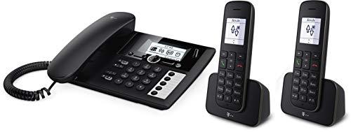 Telekom Sinus PA207 Plus 2, analoges Telefon-Set inkl. 2 Mobilteilen und Anrufbeantworter