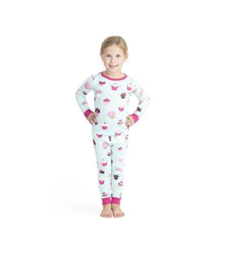 Hatley Mädchen Organic Cotton Long Sleeve Printed Pyjama Sets Zweiteiliger Schlafanzug, (Cute Cupcakes), (Herstellergröße: 10)