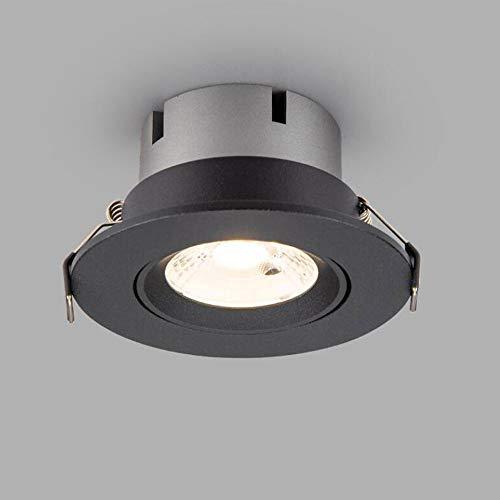 Qyyru 10W redondo negro empotrado iluminación, porche del corredor sala de estar de la sala de estar Grille LED Downlights de aluminio Embedded integrado Spotlight Home Commercial Office Panel de tech