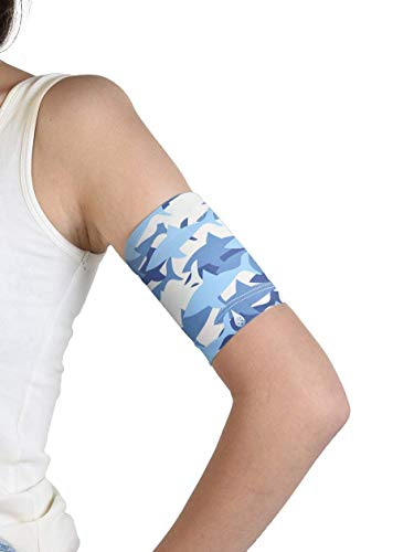 Dia-Band niños - Brazalete protector para el sensor de glucosa Freestyle Libre, Medtronic, Dexcom o Omnipod - Banda para diabéticos reutilizable (J.XS (17-20 cm))