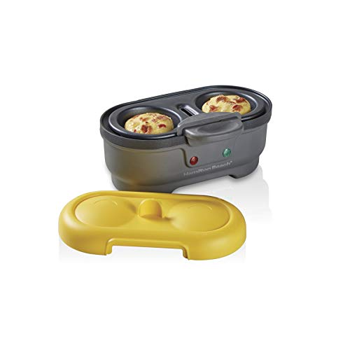 Hamilton Beach Electric Egg Bites Cooker & Poacher, Removable Nonstick Tray Makes 2 in Under 10 Minutes, Yellow (25505)