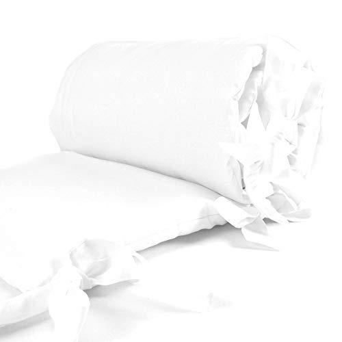 Sugarapple Nestchen Bettumrandung für Beistellbetten, Kopf- und Kantenschutz für Babybeistellbetten, Bettnestchen Maße: 170 x 25 cm, Uni Weiß