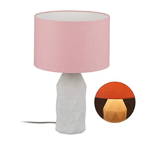Relaxdays Tafellamp Beton, hoge betonlamp met stoffen kap, E27 fitting, cementlamp met kabel, 46,5 x 30 cm, roze/grijs