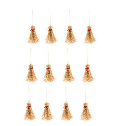 Healifty 12 stücke Mini Besen Kostüm Behänge Dekorationen Spielzeug mit Roten Seil Stroh Besen Zauberer Zubehör für Halloween Party Red Seil Große Größe