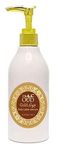 Crèmes Lotion OUD GOLD 300ml de My Perfumes Lait Parfumé Hydratant Pour le Corps et Visage Homme et Femme Notes: Orange, Musc, Freesia, Iris, Pêche, Tabac (1)