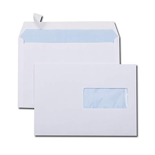 GPV Boîte de 500 enveloppes Blanches auto-adhésives 80g Format C5 162x229mm fenêtre 45x100