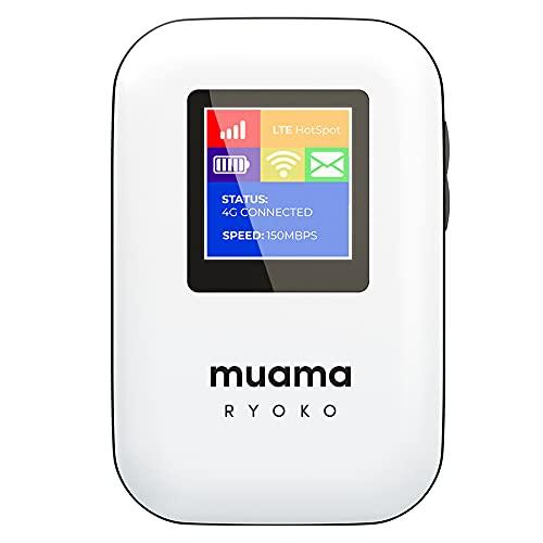 Ryoko MUAMA - Punto de acceso portátil WiFi móvil con 500 MB de datos 4G LTE WiFi de velocidad y cobertura global en 134 países tarjeta SIM incluida sin roaming en todo el mundo, conexión segura