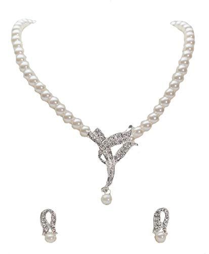 Unbekannt Set Collier Halskette Perlen Strass Brautschmuck Perlenkette Braut SCHMUCK NEU