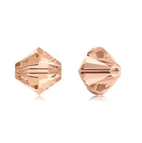 Adabele 50 cuentas de cristal bicone austriaco de 5 mm, color melocotón claro, compatible con cristales de Swarovski Preciosa 5301/5328 SSB518
