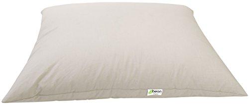 Bean Products Standard Organic Kapok Pillow - 20' x 26' - Organic Cotton Zippered Shell - Made in USA