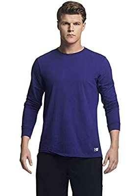 Russell Athletic Men's Cotton Performance Long Sleeve T-Shirts, Purple, 2X-Large