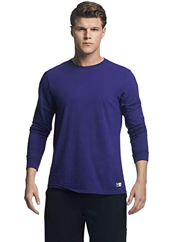 Russell Athletic Men's Cotton Performance Long Sleeve T-Shirt, purple, L