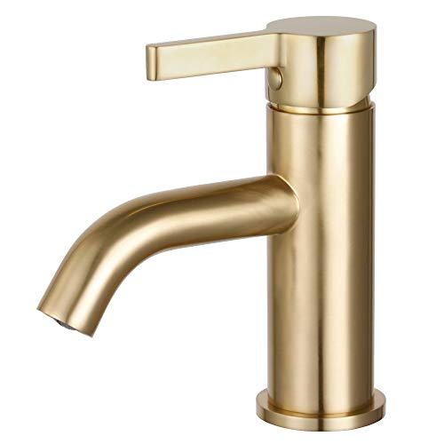 Fauceture LS8223CTL Continental Single-Handle Bathroom Faucet with Push Pop-Up, Brushed Brass