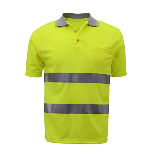 HSNMEY Unisex Polo Shirts Warnschutz EN 20471 reflektierend Sicherheitsshirt hohe Sichtbarkeit für Arbeit Outdoor, Gelb M