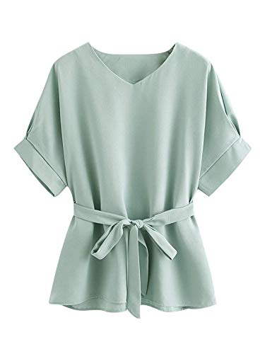 Milumia Women's Casual V Neckline Self Tie Short Sleeve Work Blouse Tunic Tops Mint Large
