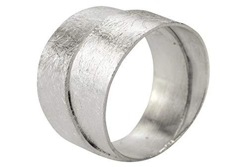 SILBERMOOS Damen Ring Bandring Schmiedering doppelter Ring zwei Schienen zweifach gebürstet Sterling Silber 925, Größe:54 (17.2)