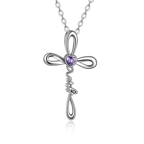 UCADRIT Celtic Faith Cross Necklace Birthstone 925 Sterling Silver Faith Cross Jewelry Gift for Women Confirmation Gifts (02-February)