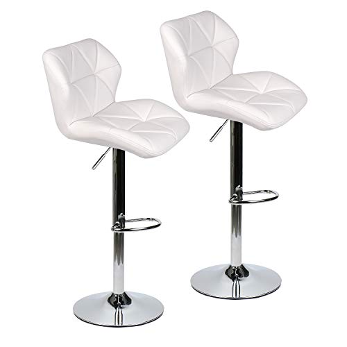 Set of 2 Shell Shaped Bar Stools Modern Gas-Lift Adjustable Swivel Leather Chair with Back, Chrome Base Counter Barstools, White