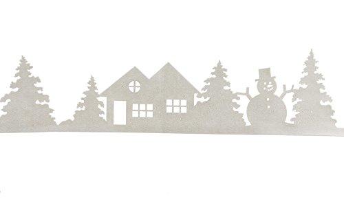 zeitzone Fensterbild Winterlandschaft Weihnachten Filz Weiß Glitzer Winter Wonderland Fensterdeko