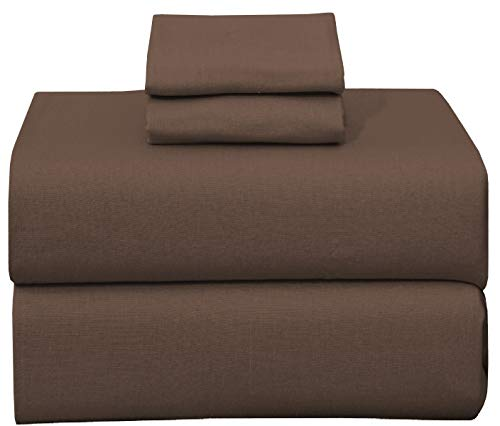 Ruvanti 100% Cotton 4 Piece Flannel Sheets Queen Dark Brown Deep Pocket -Warm-Super Soft - Breathable Moisture Wicking Flannel Bed Sheet Set Queen Include Flat Sheet, Fitted Sheet 2 Pillowcases